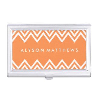 Naranja moderno y blanco Chevron Caja De Tarjetas De Visita
