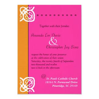 Naranja ornamental y rosa de la invitación del