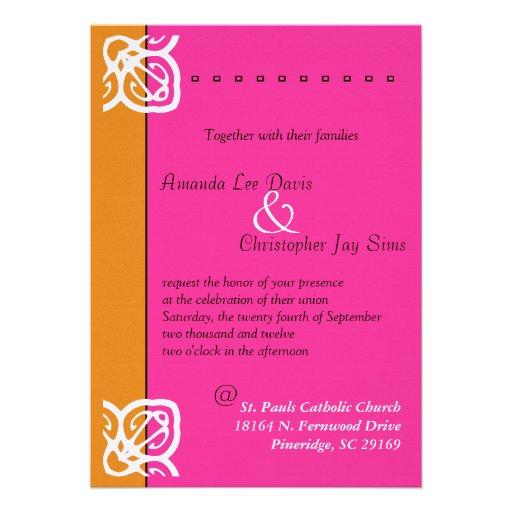 Naranja ornamental y rosa de la invitación del bod
