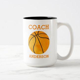 Naranja personalizado del entrenador de béisbol taza de café de dos colores