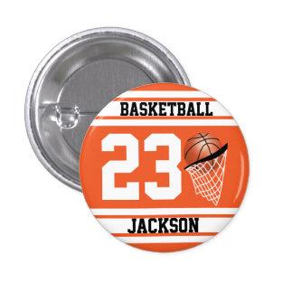Naranja personalizado y blanco del baloncesto chapa redonda 2,5 cm