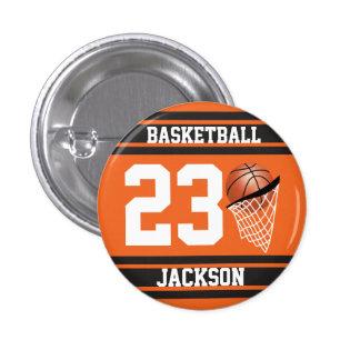 Naranja personalizado y negro del baloncesto chapa redonda 2,5 cm