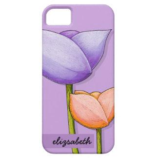 Naranja púrpura 4 Barely There de las flores iPhone 5 Case-Mate Carcasas