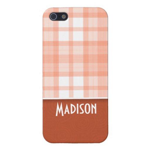 Naranja quemado, tela escocesa del melocotón iPhone 5 cárcasa