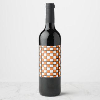 Naranja resumido a cuadros y negro etiqueta para botella de vino