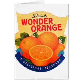 Naranja retro de la maravilla del anuncio del anun tarjeta de felicitación