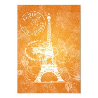 Naranja romántico de París de la ducha nupcial Invitación 12,7 X 17,8 Cm