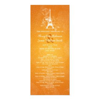 Naranja romántico de París del programa elegante Invitación 10,1 X 23,5 Cm