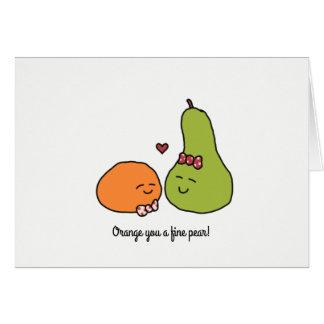 """Naranja usted tarjeta de felicitación de una pera"