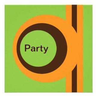 Naranja verde enrrollado y fiesta retro abstracto invitacion personalizada