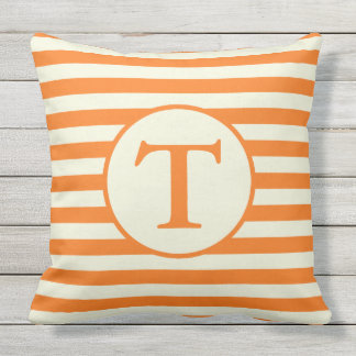 Naranja y almohada rayada beige del monograma