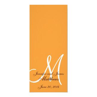 Naranja y blanco del monograma del programa de la invitación 10,1 x 23,5 cm