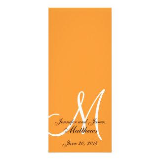 Naranja y blanco del monograma del programa de la comunicados personales