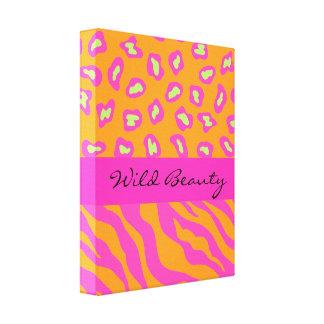 Naranja y cebra y guepardo rosados fucsias impresiones en lona