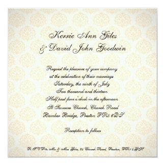 Naranja y crema cuadrados del vintage de la invitación 13,3 cm x 13,3cm