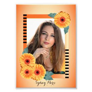 Naranja y floral decorativos - plantilla de la foto