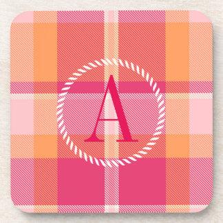 Naranja y monograma rosado ID210 del tartán