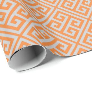 Naranja y papel de embalaje dominante griego gris papel de regalo