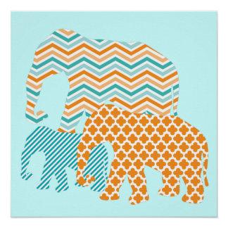 Naranja y poster de los elefantes de la aguamarina