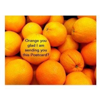 Naranjas en una postal, tarjeta divertida de la postal