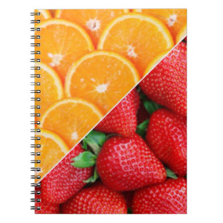 Naranjas y collage de las fresas cuaderno