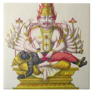 Narasimha, grabado por de Marlet (litho del color) Azulejo Cuadrado Grande