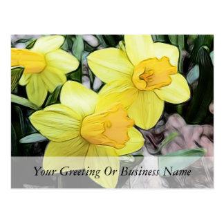 Narcisos amarillos de la primavera postal