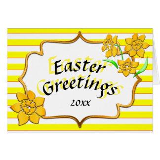 Narcisos amarillos de las rayas amarillas de los tarjeta de felicitación