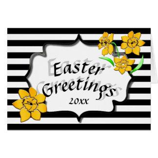 Narcisos amarillos de las rayas negras de los tarjeta de felicitación