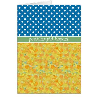 Narcisos, saludo Galés de la tarjeta de cumpleaños