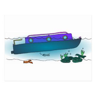 Narrowboat hundido postal