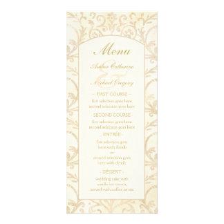 Nata floral del damasco y menú beige del boda