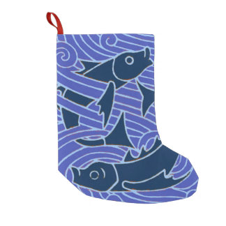 Natación azul intrépida de los pescados calcetín de navidad pequeño