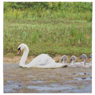 Natación blanca del cisne de la madre conforme a servilleta de tela