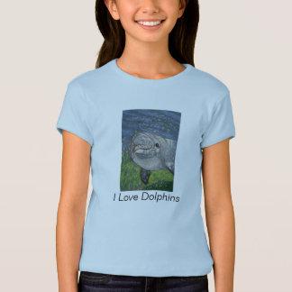 Natación del delfín: Arte del lápiz del color: Camiseta