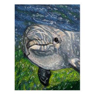 Natación del delfín debajo del agua: Luz del sol Postal