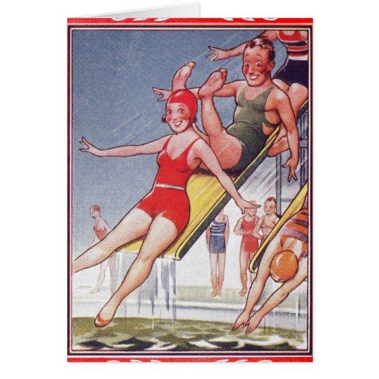 Natación del vintage de la fiesta en la piscina tarjeta de felicitación