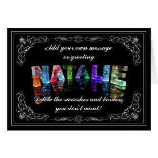 Natalie - nombre en la tarjeta de felicitación de
