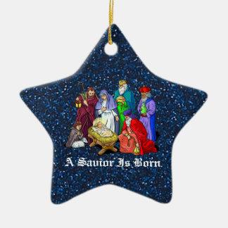 natividad adorno navideño de cerámica en forma de estrella
