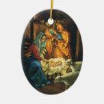 Natividad del navidad del vintage, bebé Jesús en Adorno De Navidad