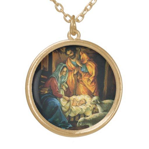 Natividad del navidad del vintage, bebé Jesús en p Grimpola Personalizada