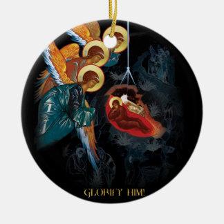 Natividad - ornamento ortodoxo griego del navidad adorno navideño redondo de cerámica