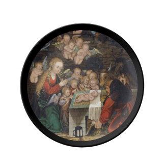 Natividad que ofrece querubes plato de porcelana