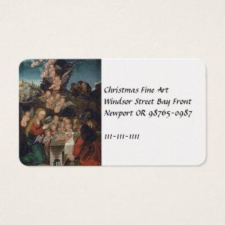 Natividad que ofrece querubes tarjeta de visita
