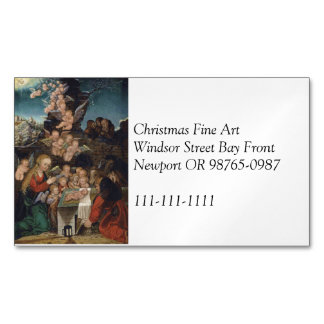 Natividad que ofrece querubes tarjeta de visita magnética
