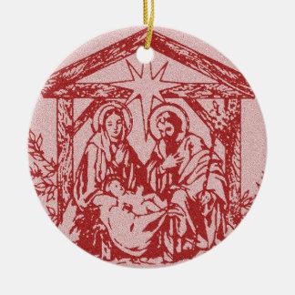 Natividad roja adorno navideño redondo de cerámica