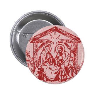 Natividad roja chapa redonda de 5 cm