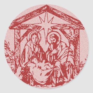 Natividad roja pegatina redonda