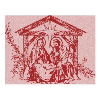 Natividad roja postal