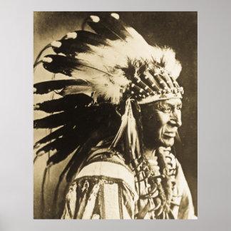 Nativo americano blanco del jefe de Siux del cisne Póster